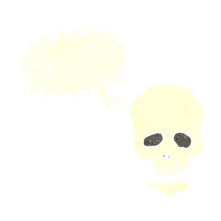 cartoon skull with speech bubble Vector