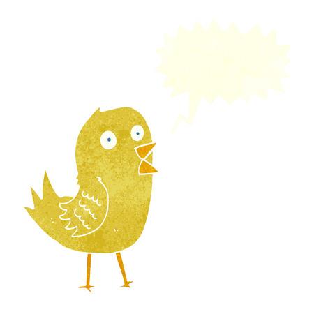tweeting: cartoon tweeting bird with speech bubble