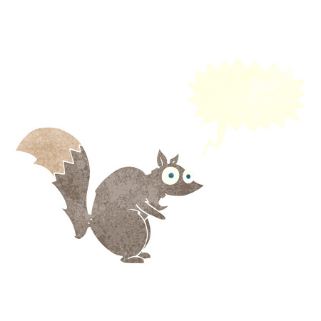 startled: funny startled squirrel cartoon with speech bubble Illustration