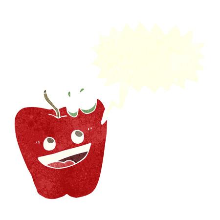 apple character: happy apple cartoon with speech bubble Illustration