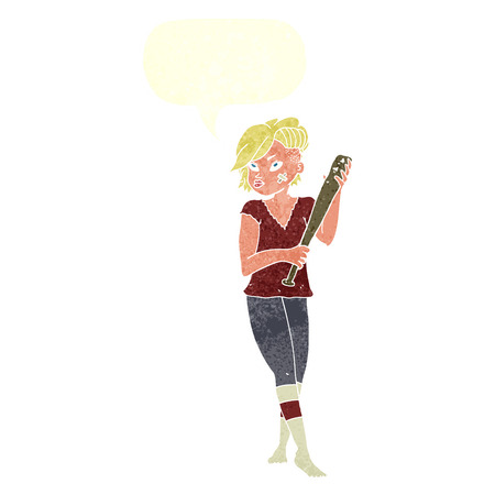 tough woman: cartoon pretty punk girl with baseball bat with speech bubble Illustration