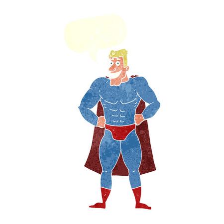 cartoon superhero with speech bubble Vector
