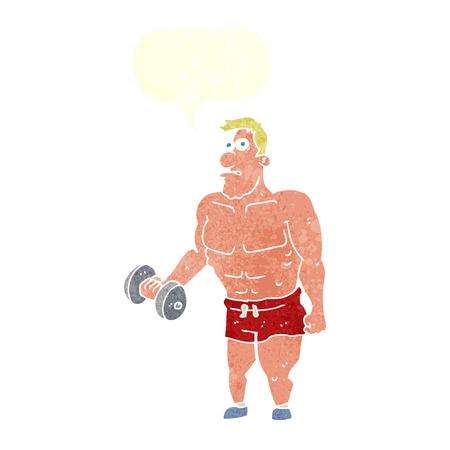hombre levantando pesas: hombre de la historieta levantamiento de pesas con la burbuja del discurso