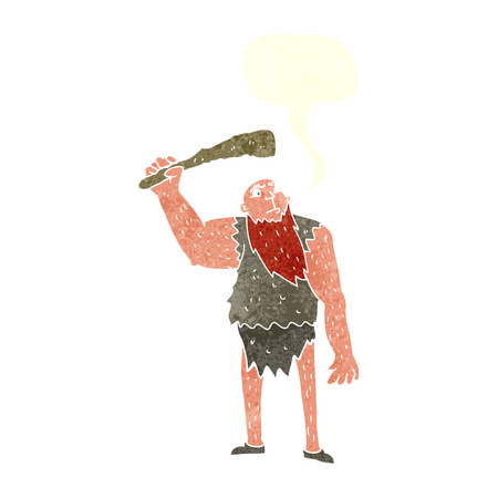 neanderthal: cartoon neanderthal with speech bubble