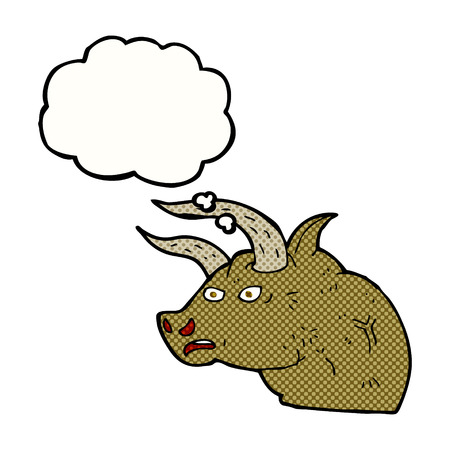 angry bull: cartoon angry bull head with thought bubble