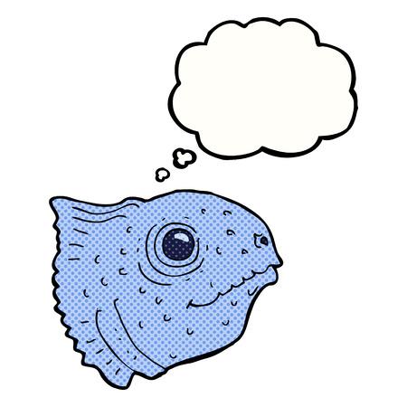 fish head: cartoon fish head with thought bubble
