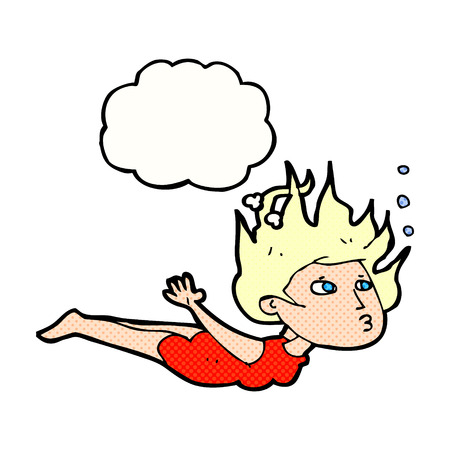 woman underwater: cartoon woman swimming underwater with thought bubble Illustration