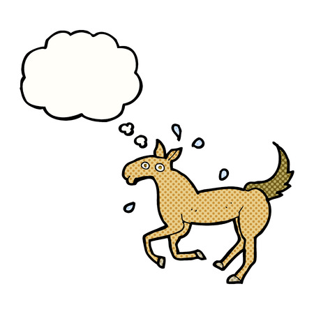 sweating: cartoon horse sweating with thought bubble