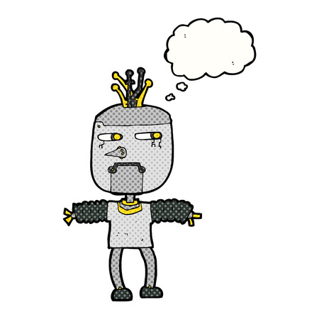 thought bubble: cartoon robot with thought bubble