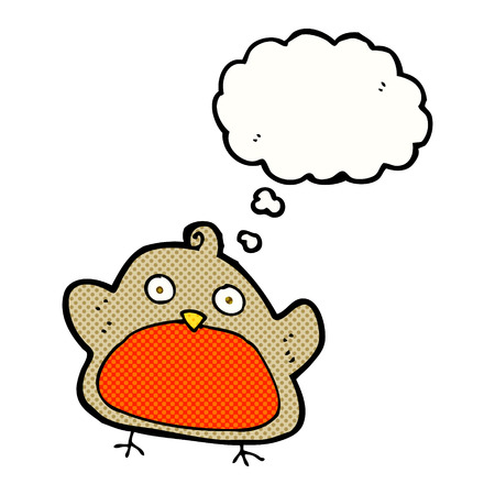 christmas robin: cartoon christmas robin with thought bubble