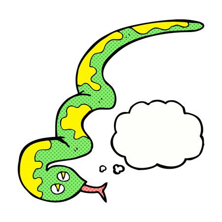 hissing: cartone animato serpente sibilante con bolla di pensiero