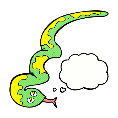 hissing: cartoon hissing snake with thought bubble