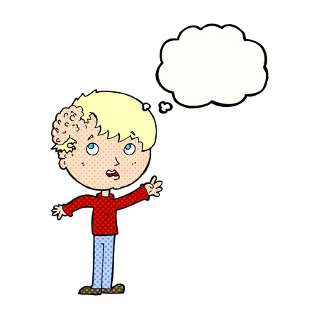 tumor growth: cartoon boy with growth on head with thought bubble Illustration