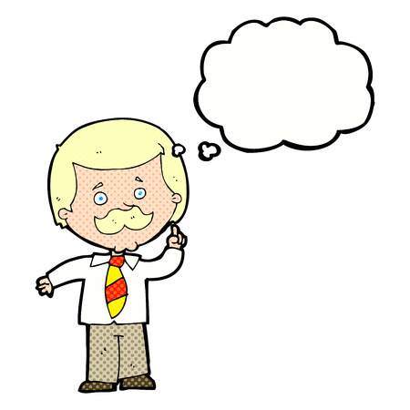 newsreader: cartoon newsreader man with idea with thought bubble Illustration