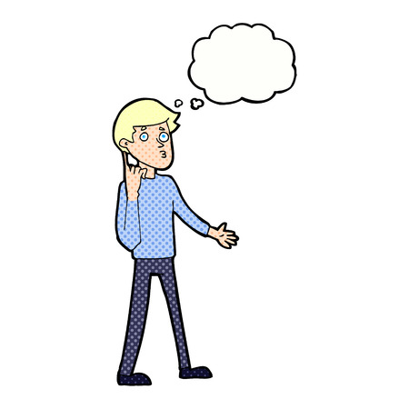 asking: cartoon man asking question with thought bubble