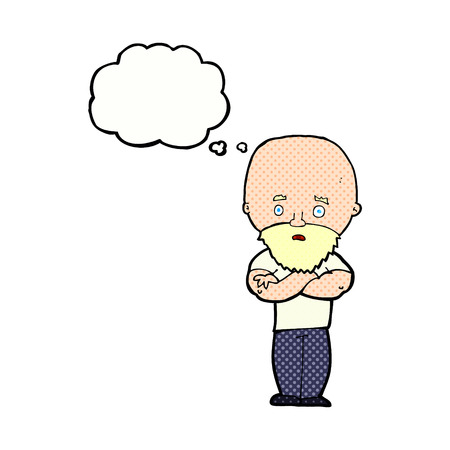 bald: cartoon shocked bald man with beard with thought bubble Illustration