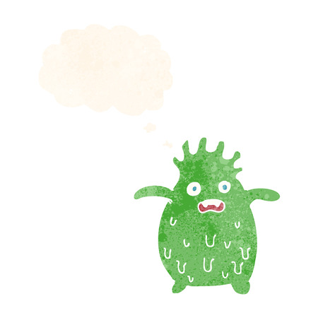 slime: cartoon funny slime monster with thought bubble Illustration