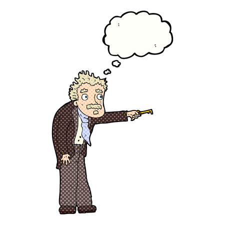trembling: cartoon man trembling with key unlocking with thought bubble