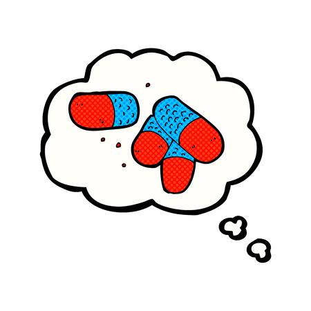 painkillers: cartoon painkillers with thought bubble