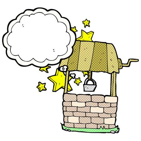 wishing: cartoon wishing well with thought bubble