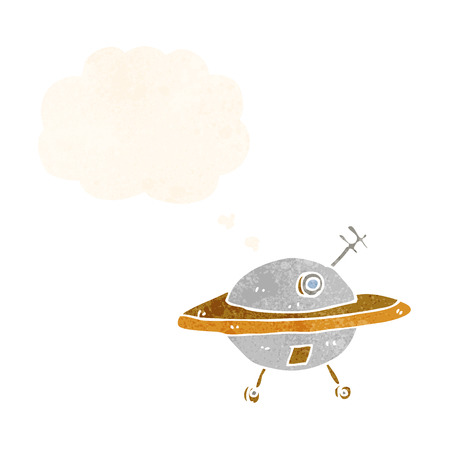 flying saucer: cartoon flying saucer with thought bubble