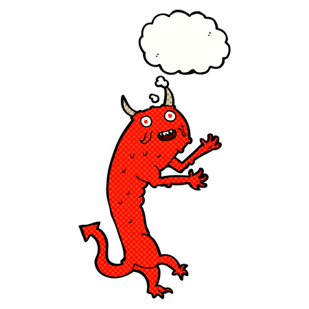 cartoon devil: cartoon devil with thought bubble