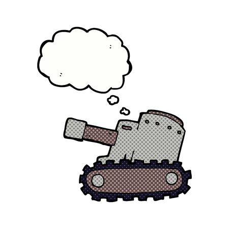 think tank: cartoon army tank with thought bubble
