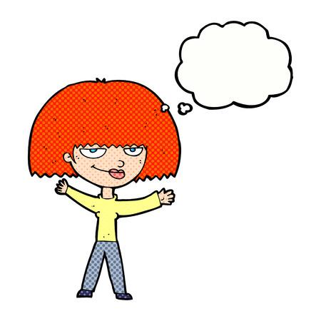 smug: cartoon smug woman with thought bubble Illustration