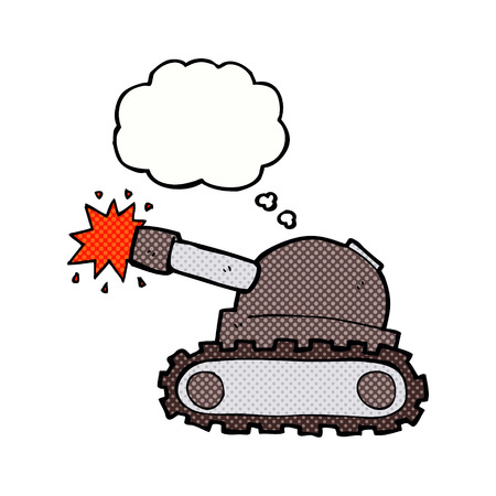 think tank: cartoon tank with thought bubble