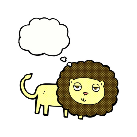 hand drawn cartoon: cartoon lion with thought bubble Illustration