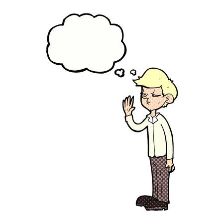 arrogant: cartoon arrogant boy with thought bubble