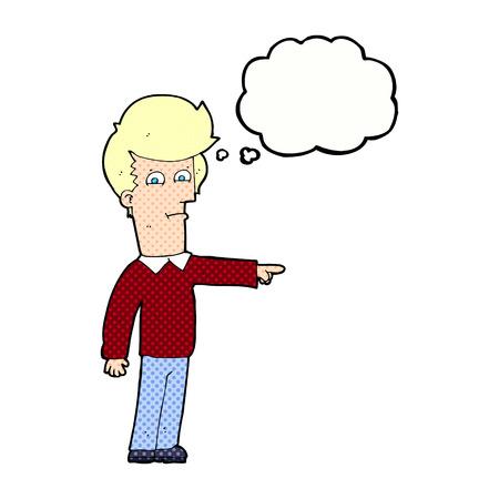 accuser: l'homme de dessin anim� montrant avec bulle de pens�e