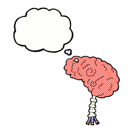thought bubble: cartoon brain with thought bubble