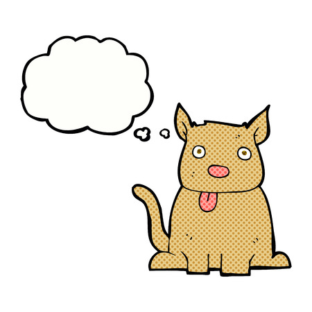 hand drawn cartoon: cartoon dog sticking out tongue with thought bubble