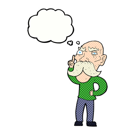 reciting: cartoon annoyed old man with thought bubble Illustration