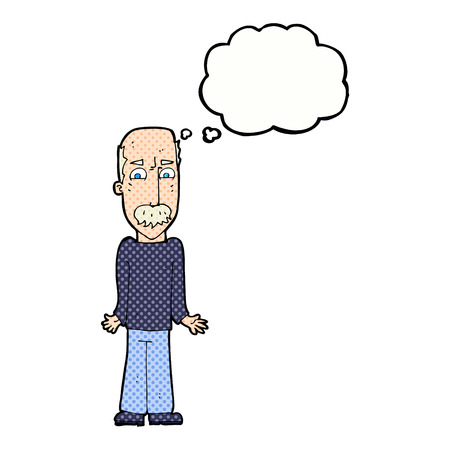 cartoon dad: cartoon dad shrugging shoulders with thought bubble