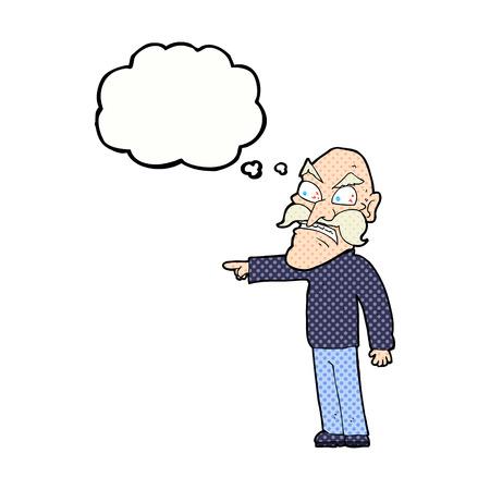 accuser: bande dessin�e furieuse vieil homme avec bulle de pens�e