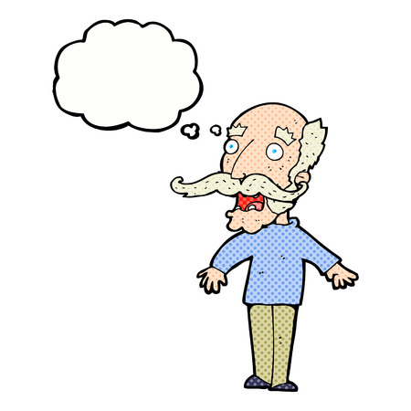 gasp: cartoon old man gasping in surprise with thought bubble Illustration