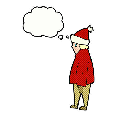 winter clothes: cartoon person in winter clothes with thought bubble Illustration