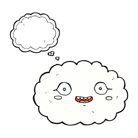thought cloud: happy cartoon cloud with thought bubble Illustration