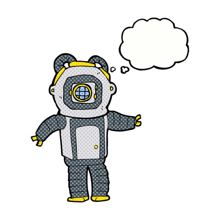 deep sea diver: cartoon deep sea diver  with thought bubble Illustration