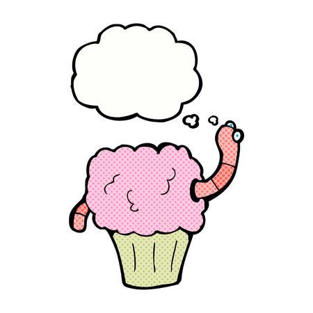 gusano caricatura: gusano de dibujos animados en la magdalena con burbuja de pensamiento