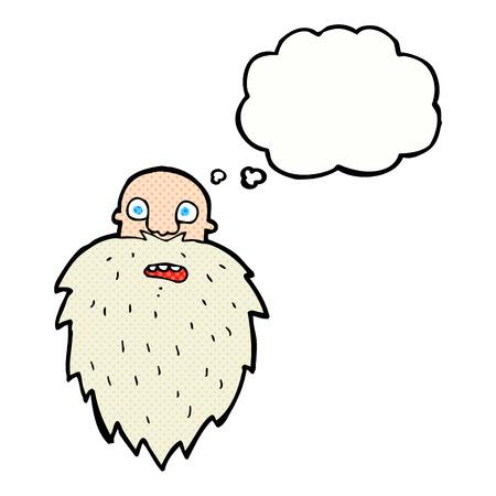 bearded: cartoon bearded man with thought bubble