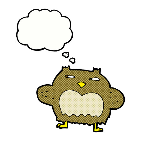 suspicious: cartoon suspicious owl with thought bubble