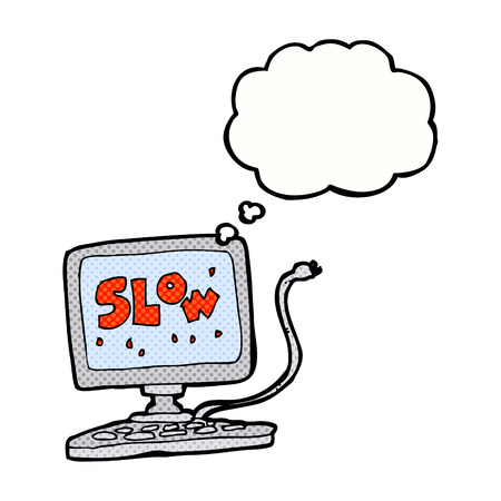 slow: cartoon slow computer with thought bubble