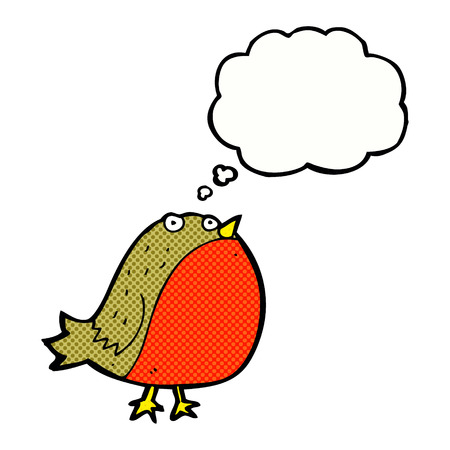 robin: cartoon robin with thought bubble
