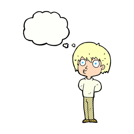 impressed: cartoon impressed boy with thought bubble Illustration