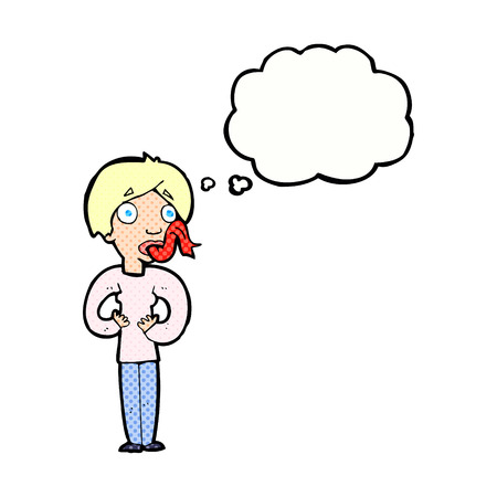 forked tongue: cartoon woman sticking out tongue with thought bubble Illustration