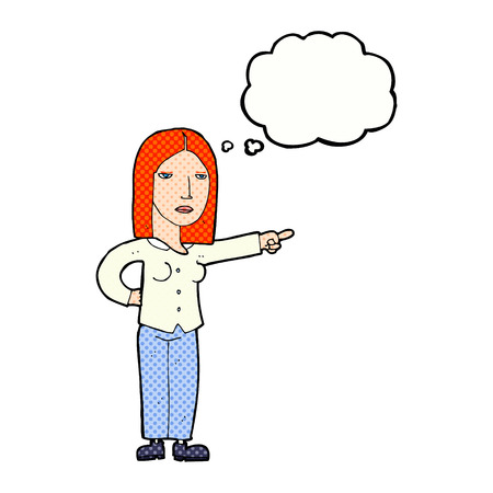 commanding: cartoon woman pointing with thought bubble