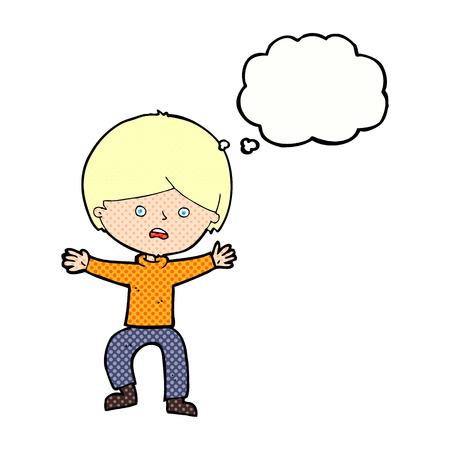 panicking: cartoon boy panicking  with thought bubble